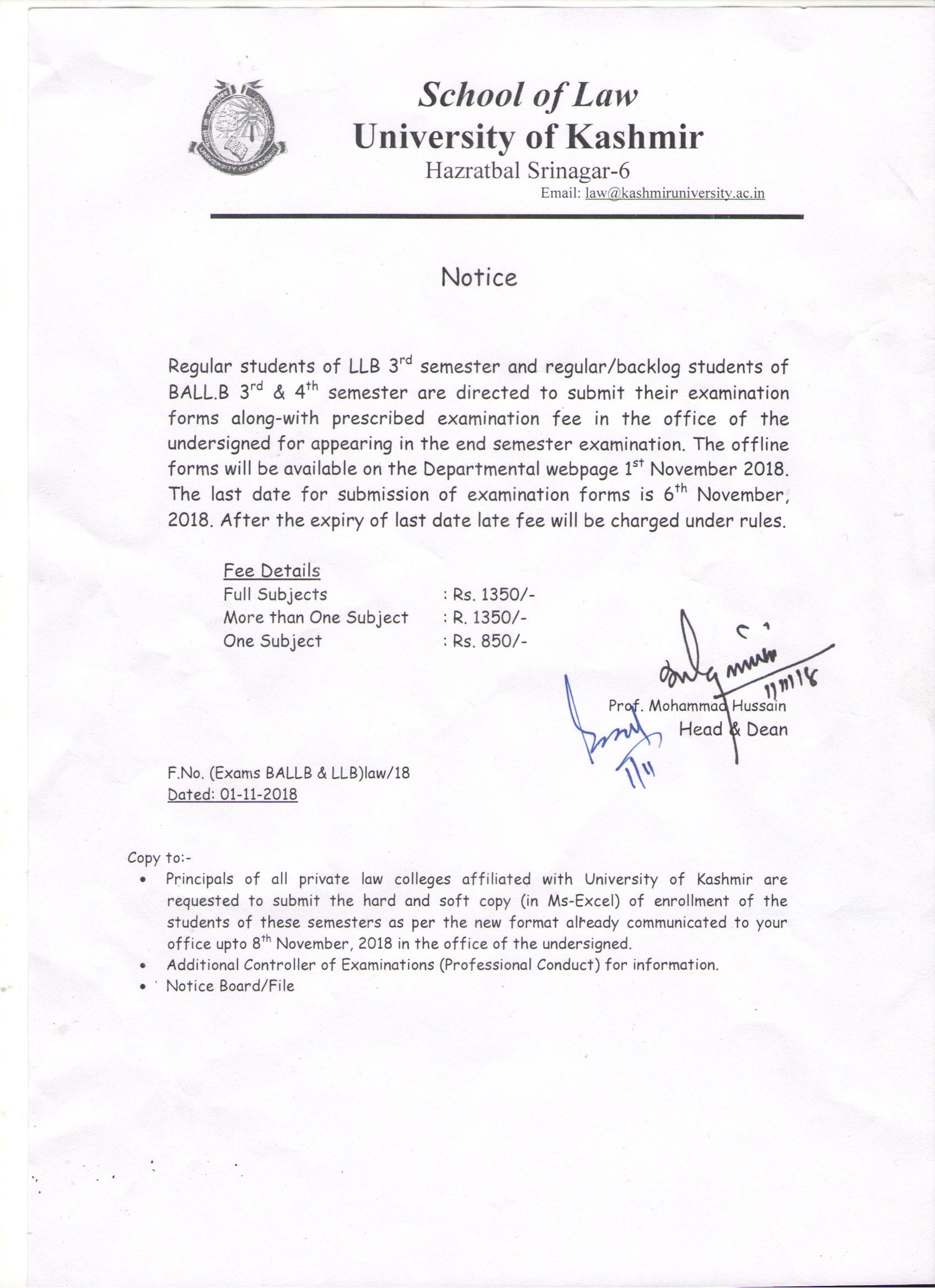 Law University Of Kashmir  Date Of Continuous Assessment Test For Ballb Rd Semester For The  Subject Law Of Contract Dated