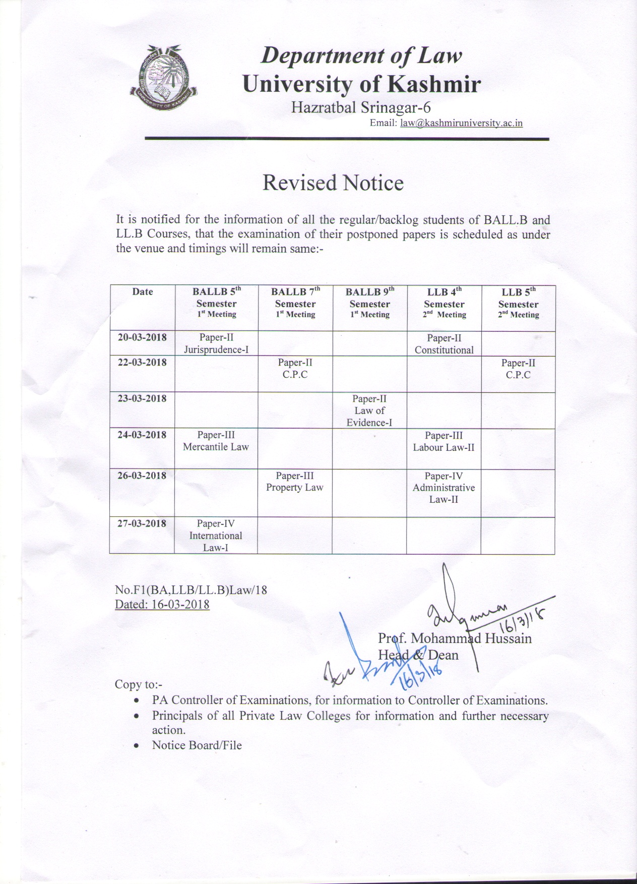 ... revised date sheet for BA.LL.B and LL.B programmes; Dated: 16-3-2018 ...